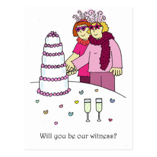 Will you be our witness, two brides. postcard