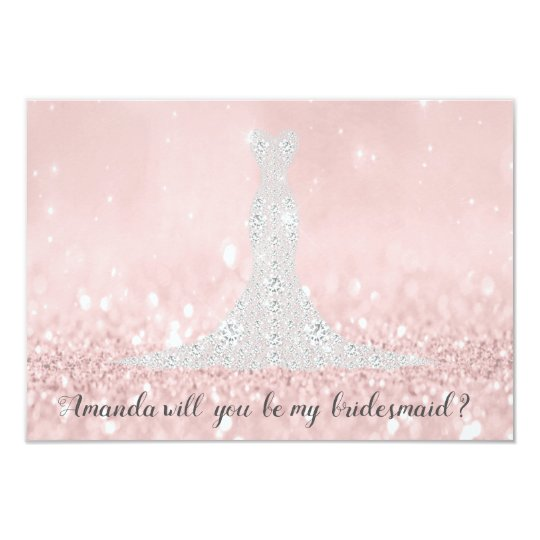Will You Bridesmaid Glitter Pink Diamond DressGray Card