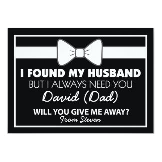 Will You Give Me Away Black/White Bow Tie 11 Cm X 16 Cm Invitation Card