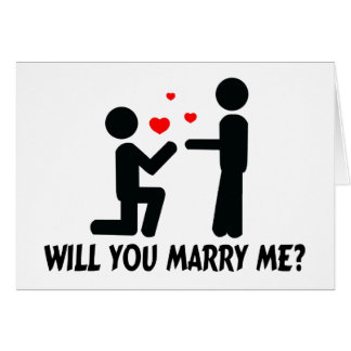 Will You Marry Me Bended Knee Man & Man Card