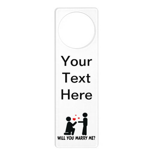 Will You Marry Me Bended Knee Woman & Man Door Knob Hanger