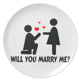 Will You Marry Me Bended Knee Woman & Woman Plate