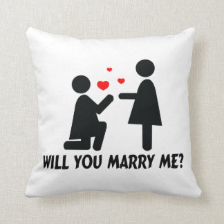 Will You Marry Me Bended Knee Woman & Woman Throw Pillow