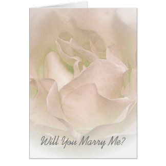 Will You Marry Me Card Ivory Rose