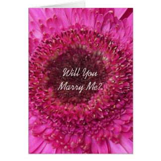 Will You Marry Me Card Pink Gerbera
