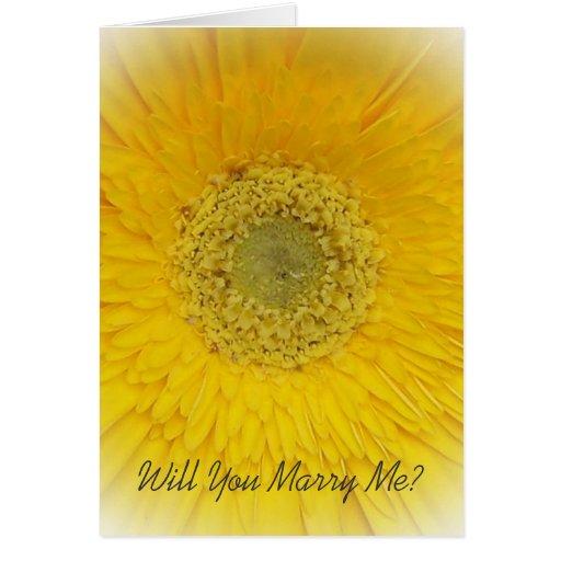 Will You Marry Me Card Yellow Gerbera