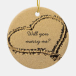 Will You Marry Me Marriage Proposal Beach Heart Round Ceramic Decoration