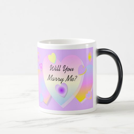 Will You Marry Me Morphing Mug Lilac Hearts
