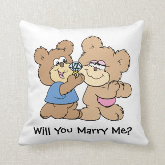 will you marry me proposing teddy  bear cushion
