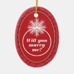 Will You Marry Me? Red Heart Pattern Ceramic Oval Decoration