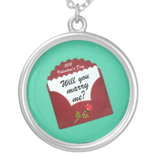 Will you marry me?  Valentine's Day 2012 Round Pendant Necklace