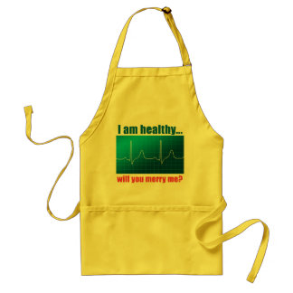 Will you merry me? proposal EKG funny design Standard Apron