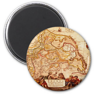 Willem Blaeu Old Rhineland Germanic Map Series 6 Cm Round Magnet