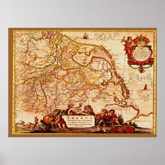 Willem Blaeu Old Rhineland Germanic Map Series Poster