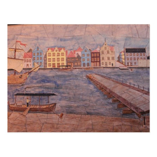 Willemstad Curacao Colourful Artwork Postcard