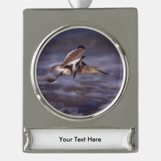 willet in flight silver plated banner ornament