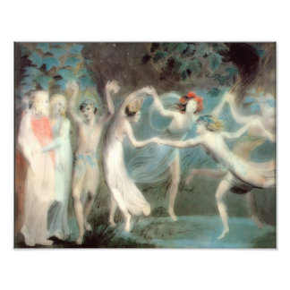 "William Blake 1786 ""Oberon Titania, Puck, Fairies"" Art Photo"
