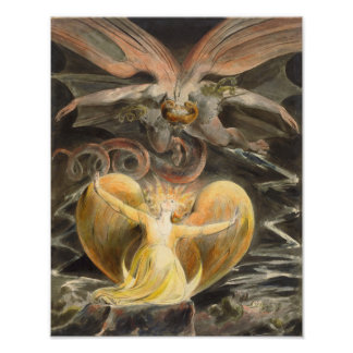 """William Blake 1805 """"The Great Red Dragon"""" Print Photograph"""