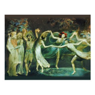 William Blake Oberon Titania and Puck with fairies Postcard