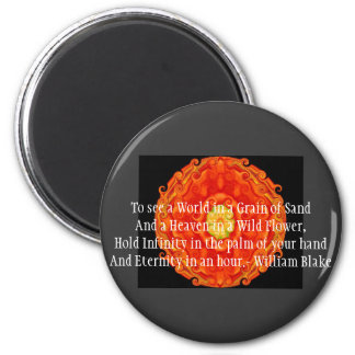 "William Blake ""World in a Grain of Sand"" quote 6 Cm Round Magnet"