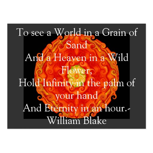 "William Blake ""World in a Grain of Sand"" quote Postcard"