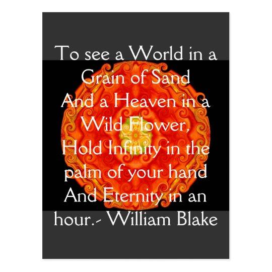 "William Blake Love Quotes: William Blake ""World In A Grain Of Sand"" Quote Postcard"