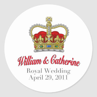William & Catherine Royal Wedding April 29, 2011 Round Sticker