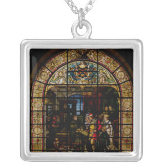 William Caxton Showing his First Printed Book Silver Plated Necklace