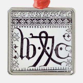 William Caxton's  Print Mark Silver-Colored Square Decoration