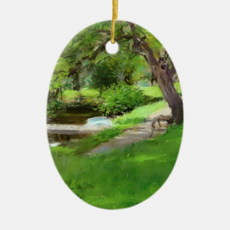 William Chase: Bank of a Lake in Central Park Christmas Tree Ornament