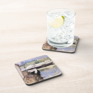 William Chase- Fish Sheds and Schooner, Gloucester Drink Coaster
