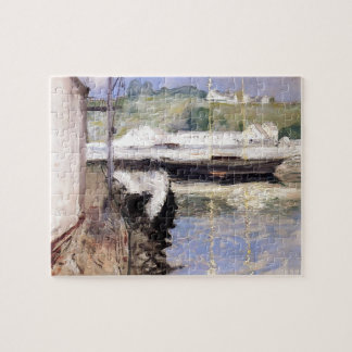 William Chase- Fish Sheds and Schooner, Gloucester Jigsaw Puzzle