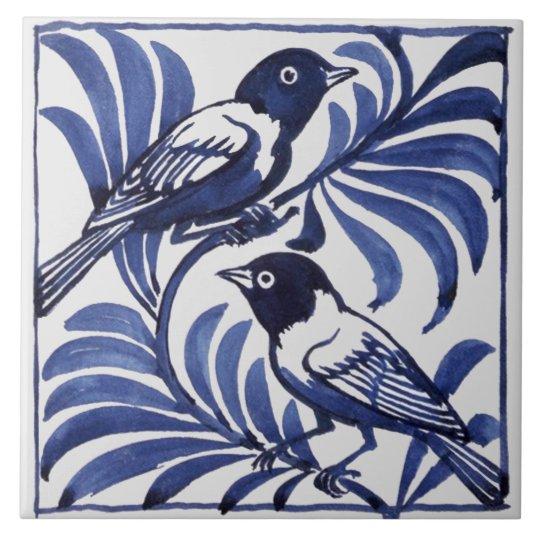 William De Morgan Birds Large Square Tile