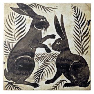 William De Morgan Rabbits Large Square Tile