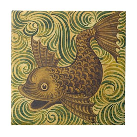 William De Morgan Repro Dolphin Tile (facing left)