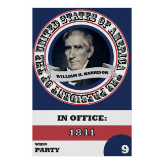 William H. Harrison Presidential History Poster
