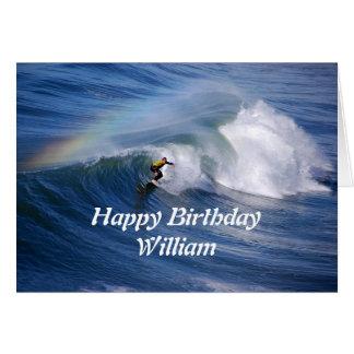 William Happy Birthday Surfer With Rainbow Card