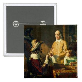 William Harvey  demonstrating to Charles I 15 Cm Square Badge
