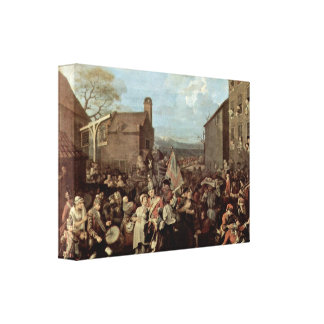 William Hogarth - The March of the Guards Stretched Canvas Print