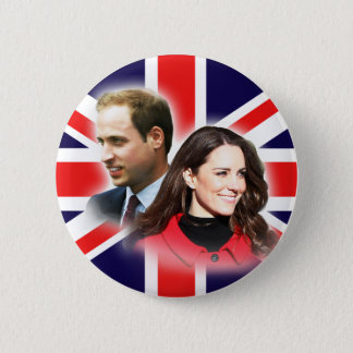 William & Kate British Flag Button