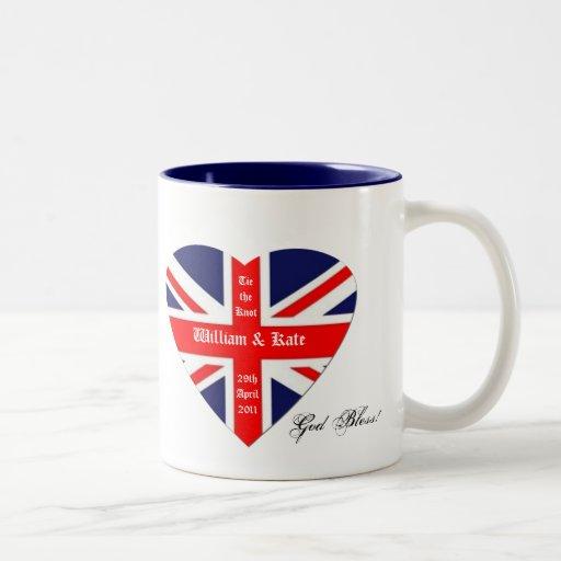 William & Kate-Union Jack/ Blessing+heart Coffee Mug