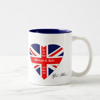 William & Kate-Union Jack/ Blessing+heart Two-Tone Mug