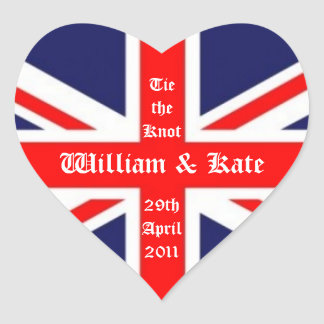 William & Kate Wedding-Union Jack Heart Sticker