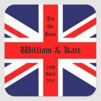 William & Kate Wedding-Union Jack Square Sticker