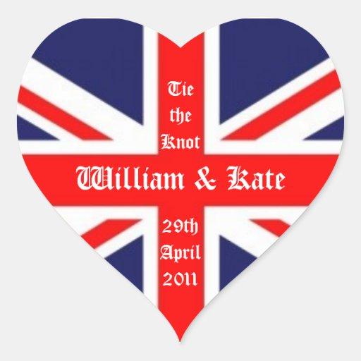 William & Kate Wedding-Union Jack Heart Stickers