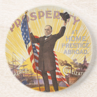 William McKinley Campaign Poster Gold Standard Coaster