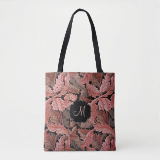 William Morris Acanthus Rose with Monogram Tote Bag