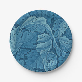 William Morris Acanthus Vintage Blue 7 Inch Paper Plate