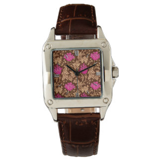 William Morris Anemone, Brown and Fuchsia Pink Watch