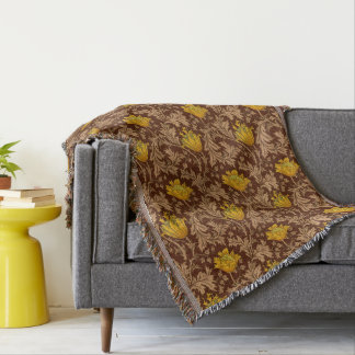 William Morris Anemone, Brown and Mustard Gold Throw Blanket